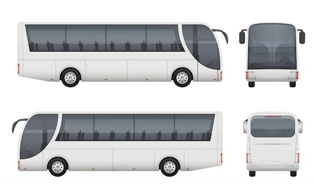 現実的な旅行バス。観光オートバスモックアップ貨物車フロントサイドビュー写真セット分離