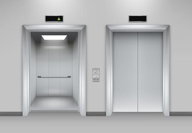 建物のドアを持ち上げます。ビジネスオフィスファサードインテリア現実的な閉鎖開口部ドアエレベータークロム金属ボタン写真