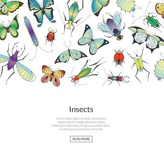 Рисованной насекомых цветной баннер веб
