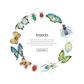Рисованной насекомых в форме круга
