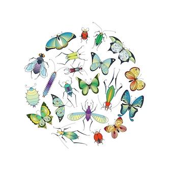 Рисованной насекомых в форме круга иллюстрации