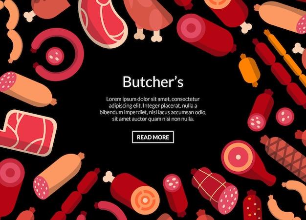 Плоские мясные и колбасные иконы шаблон или иллюстрация