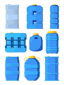 Резервуары для воды. набор различных бочек в мультяшном стиле