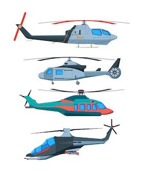 Мультяшный авиа транспорт. различные вертолеты, изолированные на белом