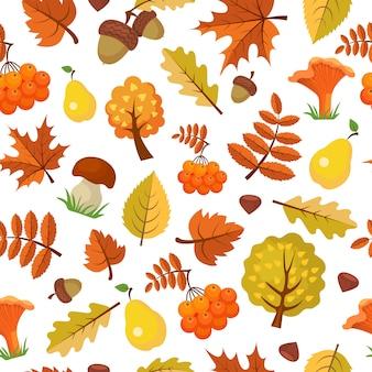 秋の葉のパターン。秋のシームレスな森の黄色い秋の美しい季節