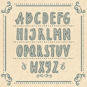 落書きの手紙と手描きのアルファベット。ベクトルイラストセット