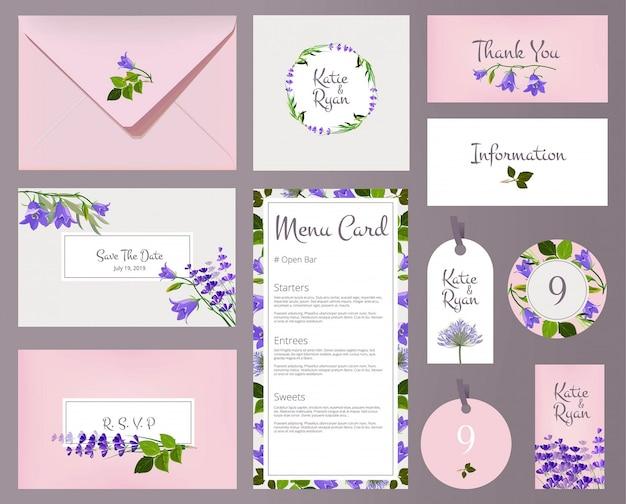 花柄のウェディングカード。招待プラカード花飾り花フレームテンプレート