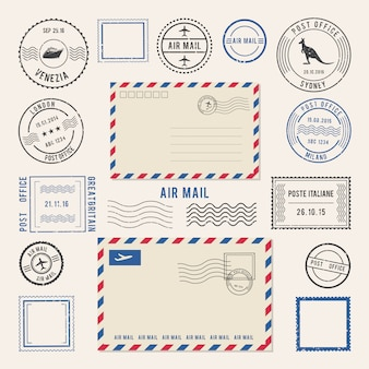 手紙や消印、航空便デザインのベクトルイラスト。