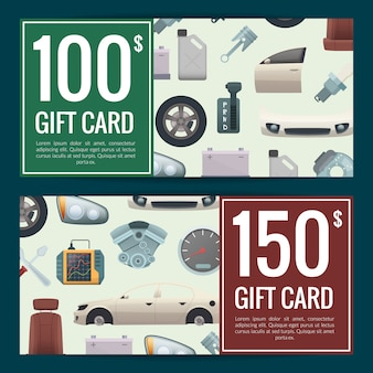 Скидка на автомобильные запчасти или иллюстрация шаблонов подарочных сертификатов