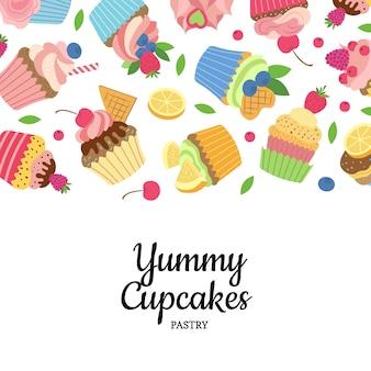 かわいい漫画のマフィンやカップケーキ