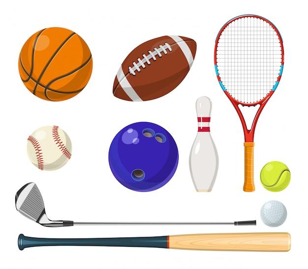 Вектор спортивного инвентаря в мультяшном стиле. мячи, ракетки, клюшки для гольфа и другие векторные иллюстрации