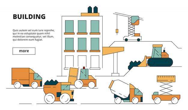 Строительство дома. тяжелые строительные машины линейные