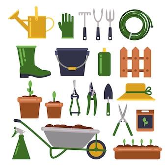 園芸用のさまざまな作業ツール。ベクトルアイコンをフラットスタイルに設定