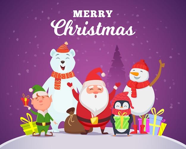 Рождественские персонажи санта-пингвин белый арктический медведь персонаж снег дикая природа животные в мультяшном стиле