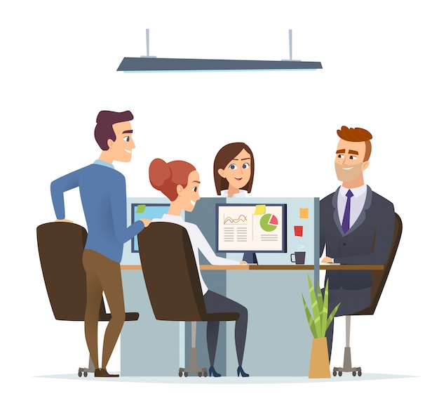 Офис на рабочем месте команды. бизнес-менеджеры мужского и женского пола, работающие и говорящие, сидя за столом, диалог из групповых персонажей.