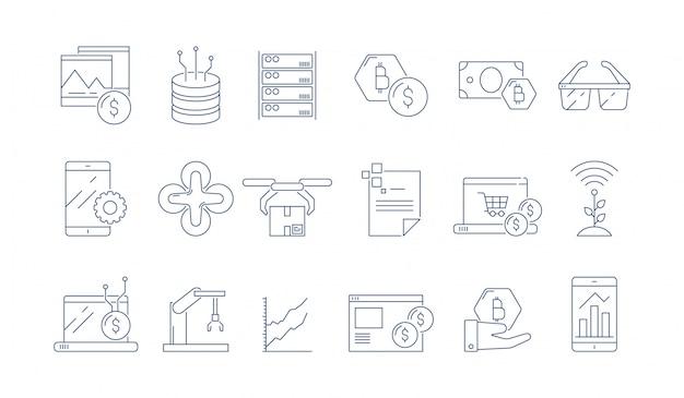 Высокотехнологичные технологии значок. современное программное обеспечение для бизнеса гарнитура передовой инжиниринг дополненной реальности тонкие символы контура