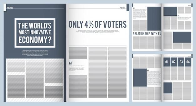 Макет журнала. макет шаблона дизайна обложки современной рекламной брошюры журнала с местом для текста и фото проекта