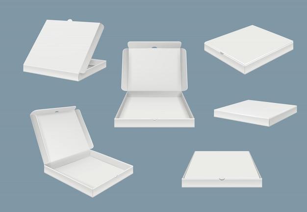 ピザパッケージのモックアップ。さまざまなビューの現実的なテンプレートのファーストフード配信段ボールの開閉ボックス