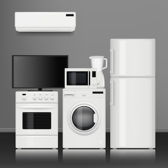 キッチン家電。家庭用電化製品の電子部品のリアルな写真