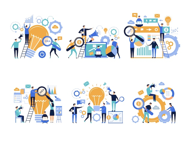 Деловые люди. офис-менеджеры по продвижению и анонсированию различных продуктов креативного цифрового маркетинга рекламных персонажей