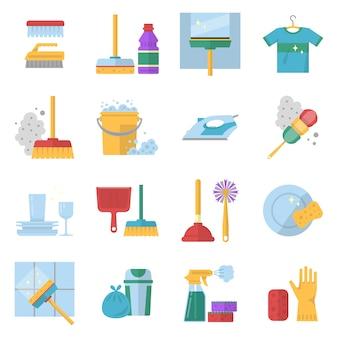 清掃サービスのシンボル。漫画のスタイルでさまざまな色のツール。