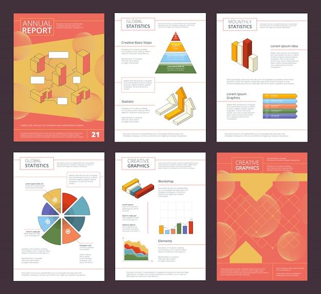 Макет страниц бизнес буклета с рекламным проектом абстрактных фигур