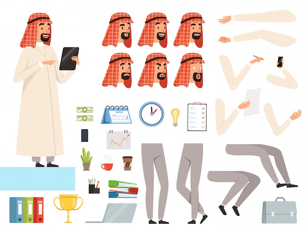 Арабский бизнесмен элементы персонажа