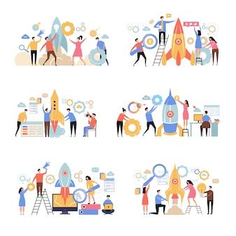 Запуск бизнес стартапа. ракета успешная компания новая рабочая идея бизнес метафора офис персонажи люди менеджеры сцена