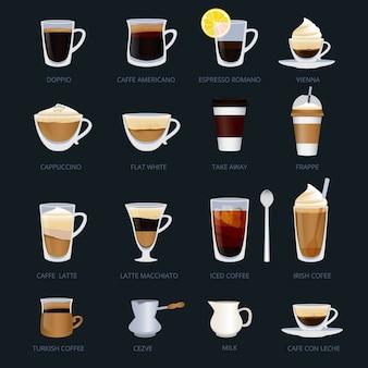 コーヒーの種類が異なるマグカップ。エスプレッソ、カプチーノ、マキアートなど。