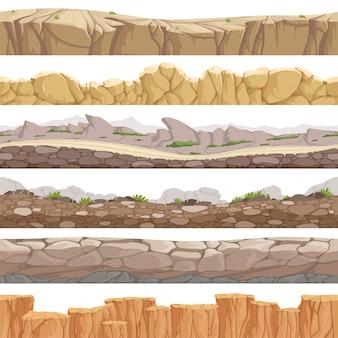 シームレスな古い岩の道。無限の素晴らしいロッキーグラウンドのさまざまな種類のゲームの風景