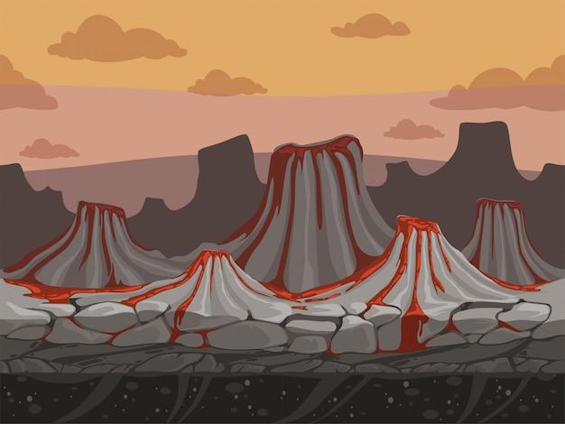 Вулканы бесшовного игрового фона. скалистая земля с камнями доисторический открытый пейзаж в мультяшном стиле