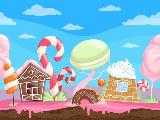 Игра бесшовные сладкий пейзаж.