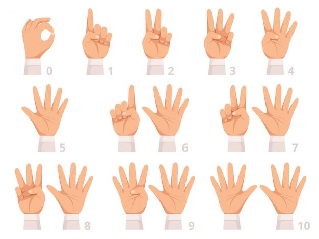 Руки жестом цифры. человеческая ладонь и пальцы показывают разные цифры иллюстрации шаржа