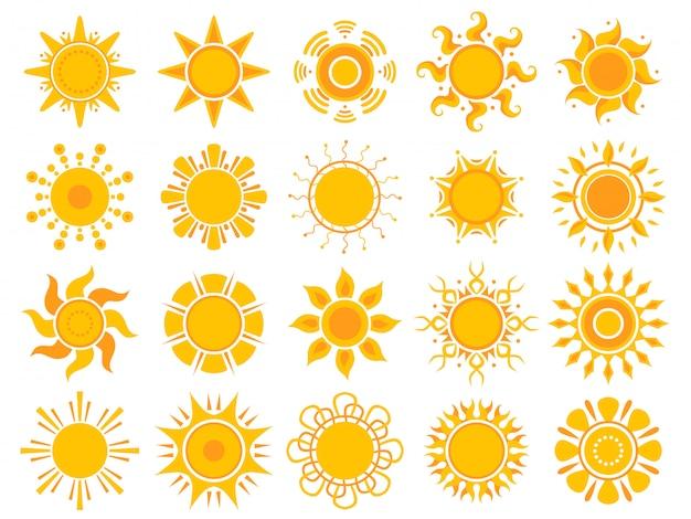 黄色の太陽アイコン。オレンジ色の天気サンシャイン夏抽象記号分離