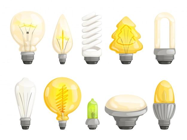 Коллекция современных лампочек. идея лампы освещения мультипликационные картинки красочный набор