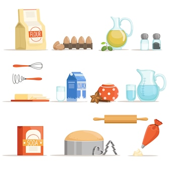 ベーキングや料理のためのさまざまな食材