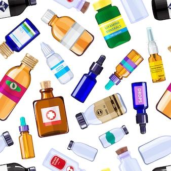 薬局の薬瓶のシームレスパターン