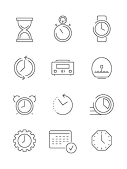 時間のシンボル。カレンダー時計高速作業時間管理薄い線形アイコンベクトルコレクション