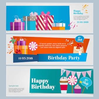誕生日パーティーのお祝いの水平方向のバナーセット。