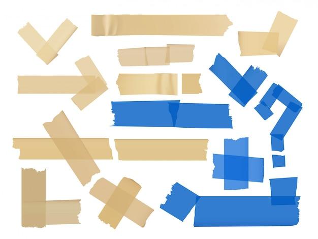 白で隔離される粘着テープでさまざまなフラグメントのベクトルを設定