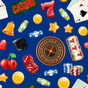現実的なカジノギャンブルのシームレスなパターンベクトル