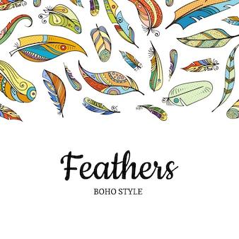 Вектор бохо каракули цветные перья фоновой иллюстрации