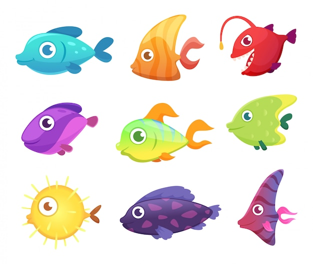 漫画の魚。ゲームの水中の海の海の動物のベクトル画像