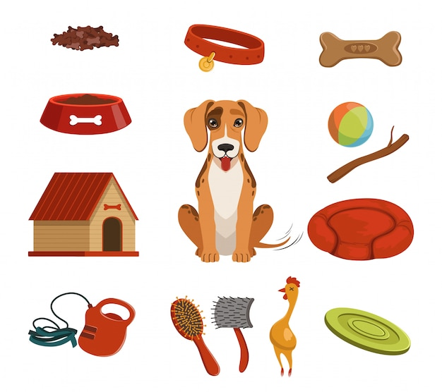 家庭用ペットのためのさまざまなアクセサリー。家の中の犬。ベクトルイラストセット。