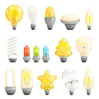 Лампочки установлены. современная лампа экономии энергии флуоресцентной подсветкой галогеновой векторной коллекции мультфильмов