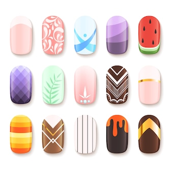 Набор дизайнов ногтей. цветной шаблон пальца арт дизайн векторные картинки мультфильм