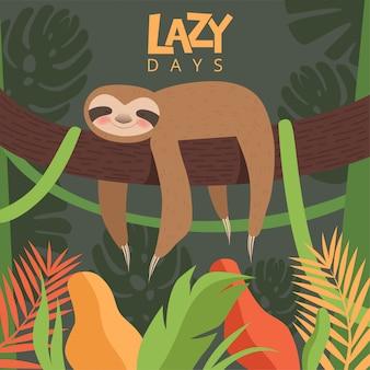 Ленивец висит ветка. шаблон дизайна с маленьким сонный ребенок милый мультфильм животных векторное изображение