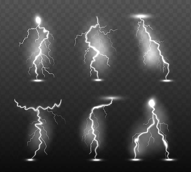 Ночная молния. свечение штормовая погода световые эффекты сила энергия электричество гром дождь удар в небо вектор реалистичная коллекция