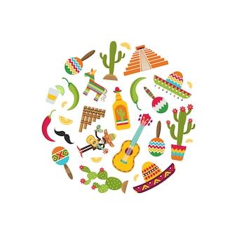 円図形の図のベクトルフラットメキシコ属性