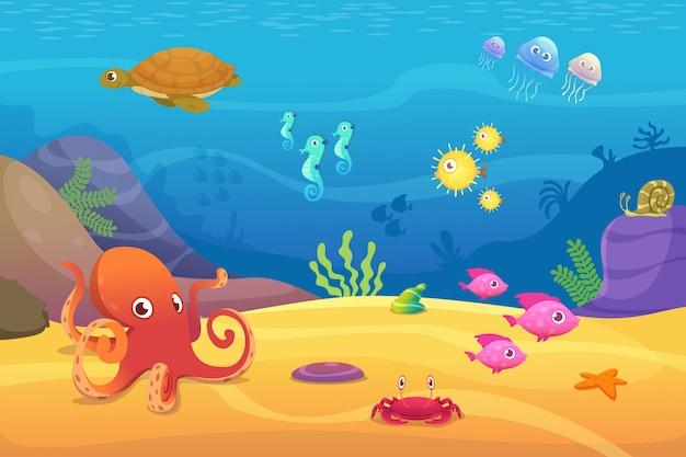 水中生活。水族館漫画魚海と海の動物イラスト